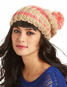 Striped Pom Pom Beanie: Charlotte Russe - http://AmericasMall.com/categories/womens-wear.html
