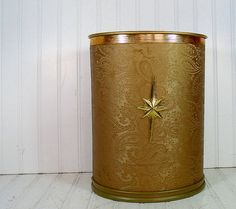 Brocade Upholstered Brass Metal Waste Can  Vintage by DivineOrders, $27.00