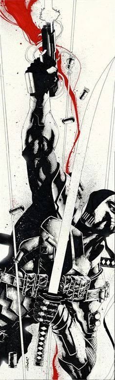 Deathstroke by Jimbo Salgado. Deathstroke/Slade Wilson was a soldier in the U.S. Army. He took part in an experimental super-soldier project where he gained enhanced strength, agility and intelligence.  A series of tragic events drove him to become one of the world's greatest assassin/mercenaries and enemy of the Teen Titans.