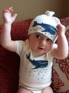 Whales for Babies Organic Cotton Bodysuit and Matching Hat Set Perfect shower gift sex unknown, Sea theme baby clothes by SweetestHue on Etsy https://www.etsy.com/ca/listing/251415763/whales-for-babies-organic-cotton