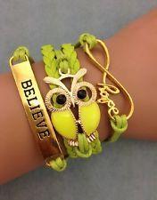 NEW Infinity Owl Love Believe Friendship Leather Cute Charm Bracelet Gold