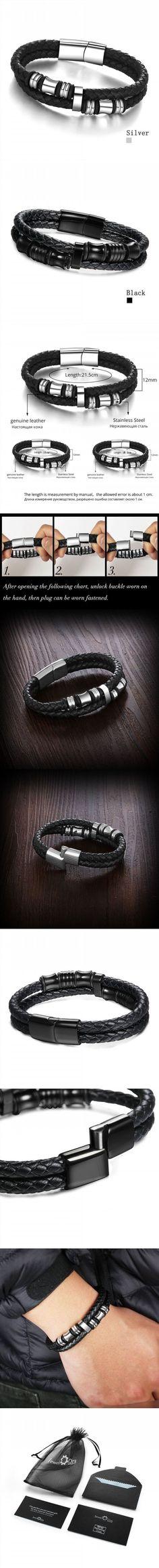 Stainless Steel Men Bracelet Genuine Leather Bracelets & Bangles Man Jewelry 185mm 200mm 215mm (JewelOra BA101174)