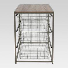 3 Drawer Closet Organizer With Rustic Oak Finish Top Gray Metal - Threshold™ : Target Closet Shelves, Closet Storage, Drawers For Closet, Storage Drawers, Storage Rack, Wire Storage, Metal Drawers, Fabric Storage, Toy Storage