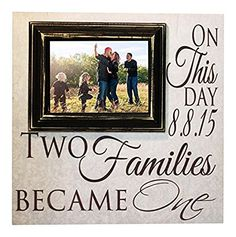 Blended Family Picture Frame Two Families Become One Personalized 16x16  Sign With A 5x7 Picture Frame