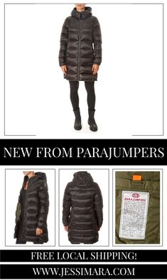 This is the 'Marion' Black Mid-Length Puffer Coat by our friends at Parajumpers! Down-filled 20 den polyester-nylon twill coat. The hood is adjustable by means of a drawstring. Two zippered pockets in front, underarm vents. Two-way front zip. PJS patch on the left sleeve.
