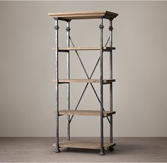 RH's Salvage Baker's Rack Tower:A reproduction of original cooling racks used by French bakers at the turn of the century, our shelving suits kitchens and other arenas of the house.