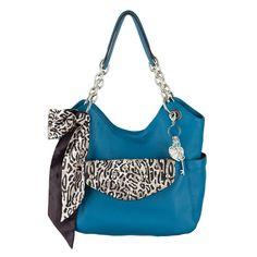 Grace Adele Leather Handbag Carly in ocean color, Britt Clutch in ocelot, Hearts Clip on, Ocelot Bag Scarf.  Shop the GA Fashion Look 88.  http://kslater.graceadele.us