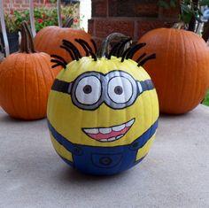 Minion  painted pumpkin