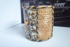 pot pour crayon,  une partie mokumé et une autre  texture et poudre pearl ex