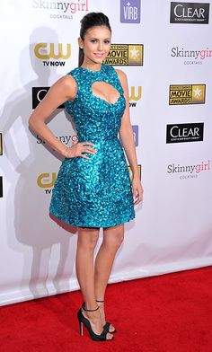 Critics Choice Movie Awards: Nina Dobrev Sparkles In Monique Lhuillier
