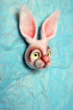 White bunny brooch - whimsical art Whimsical Fashion, Whimsical Art, Anne Sullivan, My Sewing Room, Needle Felting, Merino Wool, Etsy Seller, Bunny, Brooch