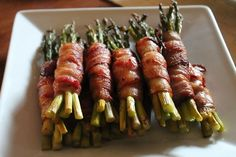 Bacon Wrapped Asparagus. Make sure not to overlap the bacon too much otherwise it won't cook thoroughly.