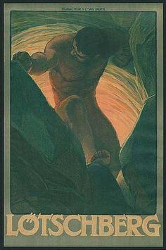 Lötschberg | Plakat zur Eröffnung der Lötschbergbahn, 1913, Künstler unbekannt.