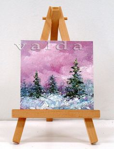 I love winter, not because it is cold outside, but because of its beauty, which is visible from my studio.  It is a most relaxing subject to paint. I used the impressionistic approach, which adds texture and richness to the composition.  Includes easel,which also makes a great original gift, It is ready for display.  All art will be shipped USPS priority mail, includes tracking number and insurance.  http://www.etsy.com/shop/valdasfineart