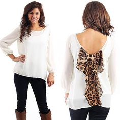 Leopard Print Bow Top