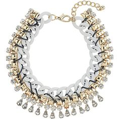 TOPSHOP Curb Chain Rhinestone Collar (1 295 UAH) ❤ liked on Polyvore featuring jewelry, necklaces, accessories, collares, white, collar jewelry, curb chain necklace, topshop, collar necklace and white collar necklace