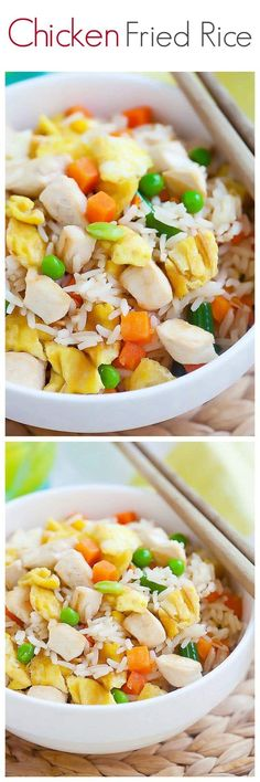 Chicken fried rice – a popular fried rice with chicken. Easy chicken fried rice recipe that is healthier & better than regular takeout and takes 20 mins | rasamalaysia.com