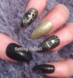 A personal favourite from my Etsy shop https://www.etsy.com/uk/listing/271411013/hand-painted-black-gold-nails-illuminati