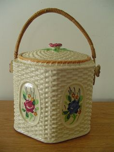 Biscuit Jar Cookie Jar Vintage Biscuit Jar by Ednascloset on Etsy, $35.67