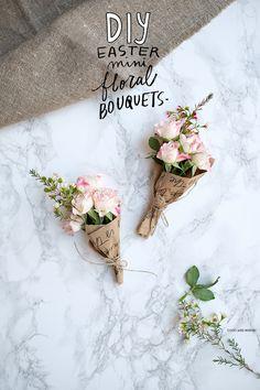 DIY Easter Mini Floral Bouquets | Free Printable wrappers | Coco/Mingo | Bloglovin' Flower Bouquet Diy, Peony Bouquet Wedding, Bouquet Wrap, Small Bouquet, Floral Bouquets, Diy Flower, Flower Ideas, Creative Gift Baskets, Flower Bar