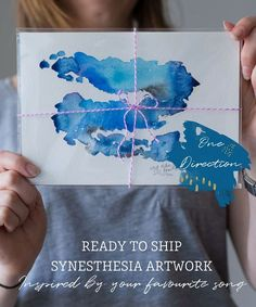 One Direction Music inspired synesthesia painting, first anniversary, paper anniversary