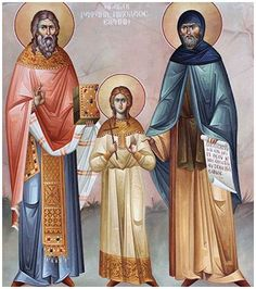 Saints Raphael, Nicholas and Irene, On Bright Tuesday (April - two days after the Holy Easter. Saints New Martyrs Raphael, Nicholas and Irene. Old Fashion Christmas Tree, Retro Christmas, Fall Of Constantinople, St Raphael, Byzantine Icons, Saint Nicholas, Old Fashioned Christmas, Orthodox Icons, Religious Art