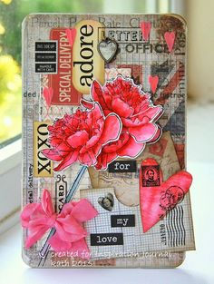 Kath's Blog......diary of the everyday life of a crafter: It's playtime... with a card using Tim Holtz, Ranger, Ideao-Ology, Sizzix and Stamper's Anonymous products; Feb 2015