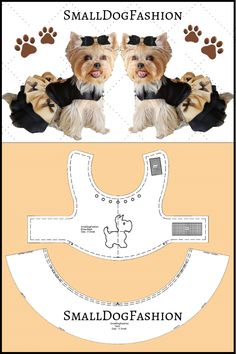 Cute Dog dress PDF sewing pattern for a small dog. Dog Dress Design by SmallDogFashion. How to make dog clothes. #smalldogfashion #dogdresses #dogfashion #petsupplies #dogclothesdiy #sewingpattern #patterndogclothes #patternshop #forsmalldog