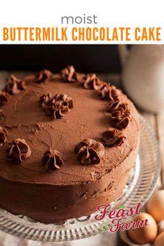 Buttermilk Chocolate Cake, Buttermilk Cake Recipe, Chocolate Ganache Frosting, Raspberry Smoothie, Apple Smoothies, Cake Tins, Cake Shop, Clean Eating Snacks, Cupcake Cakes