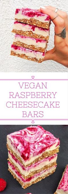Vegan raspberry cheesecake bars that can be stored in the fridge for weeks! Simple and healthy ingredients. Vegan raspberry cheesecake bars that can be stored in the fridge for weeks! Simple and healthy ingredients. Dairy Free Recipes, Raw Food Recipes, Dessert Recipes, Gluten Free, Diet Recipes, Bar Recipes, Food Tips, Recipies, Vegan Desert Recipes