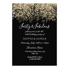 Gold Glitter Confetti Black 40th birthday party Card - birthday invitations diy customize personalize card party gift