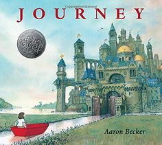 Journey by Aaron Becker A lonely girl draws a magic door on her bedroom wall and through it escapes into a world where wonder, adventure, and danger abound. Red marker in hand, she creates a boat, a balloon, and a flying carpet that carry her on a spectacular journey toward an uncertain destiny.