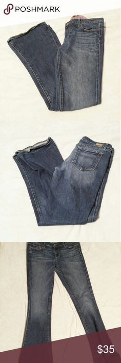 """Paige premium denim Lou Lou flare jeans BRAND: Paige  SIZE: 31  FLAW: fraying on hem, signs of wear  COLOR: medium wash  DESCRIPTION: Paige Lou Lou flare leg medium wash denim jeans. There is some wear or fraying of the hem of the leg holes. Floral interior waist band.  Approx measurements are:  Waist: 16"""" Rise: 8.5"""" Inseam: 34""""  Use #bishoujo to sort for your size. Please note I do have several pets, but most items will be washed before shipping  #Paige #paigelouloujeans #paigejeans #loulou…"""
