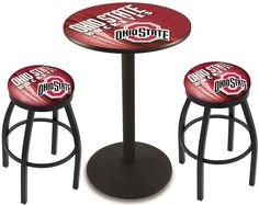Ohio State Buckeyes D2 Black Pub Table Set.  Available in two table widths. Visit SportsFansPlus.com for Details.