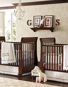 create an elephant-themed nursery | twin cribs, twins and nursery
