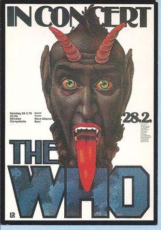 Original The Who 1976 Munich Concert Postcard Gunther Keiser Design England Rare