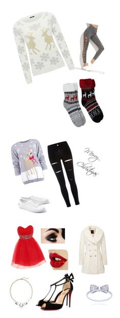 """Christmas"" by serenamaie on Polyvore featuring M&Co, Boohoo, River Island, Lacoste, Dorothy Perkins, Christian Louboutin and Old Navy"