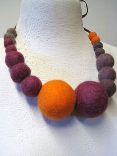 Statement felted necklace felt beaded neck decor by woolpleasure, $24.99