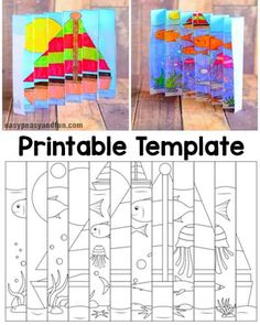We have another fun project for your kids (or you) to do during the hot summer months, this time we are sharing a fun summer agamograph template with you. Making a agamograph is really, really fun and we hope this template will inspire your kids to start Summer Art Projects, Summer Crafts, Craft Projects, Craft Ideas, Fun Projects For Kids, Art For Kids, Crafts For Kids, Arts And Crafts, Paper Crafts