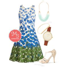 In this outfit: Carnation Station Dress, Tier to Stay Necklace in Mint, Key to Simplicity Bracelet, Time Floats By Watch, With Haute a Doubt Heel in Seashell #floral #spring #summer #vintage #beautiful #shoes #dresses #ModCloth #ModStylist #ootd #fashion #outfits #style