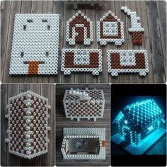 Christmas Gingerbread House hama perler beads by cupcake cutie Melty Bead Patterns, Pearler Bead Patterns, Perler Patterns, Beading Patterns, Peyote Patterns, Hamma Beads 3d, Peler Beads, Fuse Beads, Perler Bead Templates