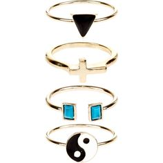 Accessorize 4 x Ying Yang Stacking Rings ($12) ❤ liked on Polyvore featuring jewelry, rings, accessories, stackers jewelry, triangle ring, cross jewelry, cross ring y stacking rings jewelry