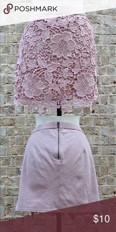 Pale Pink Lace Skirt Lace detail overlay across the front with an easy stretch zipper at the back and elastic around the waist. Perfect skirt for adding a fancy touch to a baggy tee! American Eagle Outfitters Skirts Midi