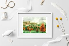 Transylvanian Autumn Watercolor landscape DIGITAL DOWNLOAD | Etsy