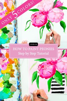How to Paint Peonies (Step by Step Tutorial) Using Only 5 Acrylic Colors! I hope you enjoy this step by step tutorial of how to paint acrylic flowers (peonies)! Drop a comment below if you have any questions! Peony Painting, Acrylic Painting Flowers, Acrylic Painting For Beginners, Step By Step Painting, Acrylic Colors, Acrylic Art, Acrylic Paintings, Painting Flowers Tutorial, Portrait Paintings