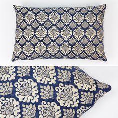 Almofada Stella Tradicional Azul e Natural 35 x 55 cm   A Loja do Gato Preto   #alojadogatopreto   #shoponline   referência 48366526