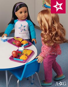 When the lunch bell rings, dolls can enjoy a yummy meal in the school cafeteria. This set includes a tray that holds make-believe food. $24