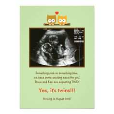 Owls Photo Pregnancy Announcement #zazzle #pregnant #baby #announcement #expecting