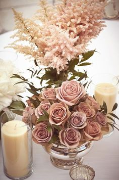 Antique roses are a beautiful addition to any table. Wedding Flowers, Wedding Décor
