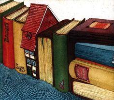 City books / Ciudad de libros (ilustración de Hartmut R. Berlinicke)